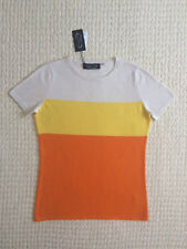 NWT~$238~Magaschoni~100% Cashmere~Top~Size S~Short Sleeves~Crew Neck~Color Block