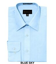 MEN DRESS SHIRTS BY DIMENSION LONG SLEEVE SOLID COLOR BUSINESS SHIRTS LIGHT BLUE