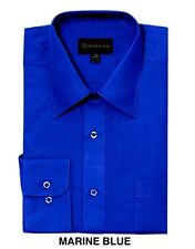 MEN DRESS SHIRTS BY DIMENSION PREMIUM SOLID COLOR BUSINESS SHIRTS FRENCH BLUE