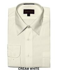 MEN DRESS SHIRTS BY DIMENSION LUXARY FIT SOLID COLOR BUSINESS SHIRTS OFF WHITE