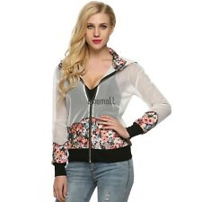 Finejo Women Hooded Coat Zipper Long Sleeve Patchwork Floral Sexy Hollow LM02