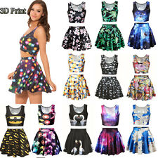 Women Galaxy Print Two Piece Set Crop Top & Skirt Skater Mini Dress Set Costume