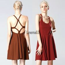 ACEVOG Sexy Women Strap Backless High Waist Solid Pleated Dress Casual Club LM02