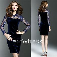 Sexy Sheath Lace Velvet Women's  Dresses Long Sleeve Evening Formal Prom Gowns