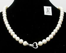 Freshwater Pearl 8mm - 9mm 17 -19 inch Necklace with Sterling Silver Heart Clasp