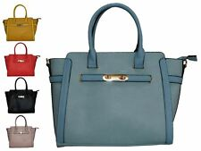 Cadence Faux Leather With Metal Clasp Detail Top-Handle Shoulder Tote Handbag