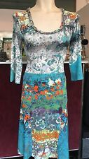 SAVE THE QUEEN NS TURQUOISE BASED PRINT DRESS LACE BACK S,M,L,XL