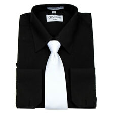 Men's Deluxe French Cuff Tie Set Black Business Shirt & White Tie By Berlioni