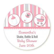 Shake Rattle Roll Pink - Round Personalized Baby Shower Sticker Labels - 8 sizes