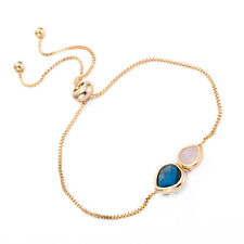 Fashion Blue and Pink Crystal Double Heart Shape Linked Bracelet For Girls Gift