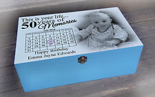 Personalised wooden memory gift box, 50th or any age birthday present