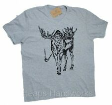Mens V Neck T Shirt Gray - HAND PRINTED Moose - Funny Graphic -  S M L XL NEW