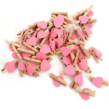 30mm Wooden Mini Heart Shaped Clip Wood Pegs Kid Crafts Party Favor Supply 50Pcs