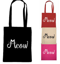 CAT bag tote MEOW CRAZY CAT LADY shopping lover kitten cats cotton eco bag gift
