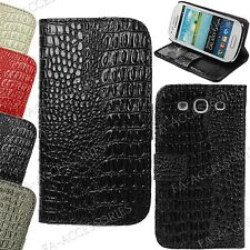 Magnetic Croc Leather Flip Wallet Card Money Stand Case Cover For Apple Samsung
