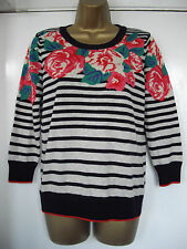 BN M&S per una - size 8 & 10 - lovely cream/navy striped floral Jumper - BNWoT
