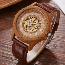 Classic Mens Automatic Mechanical Sport Wrist Watch Leather Dial Wood Watch Gift