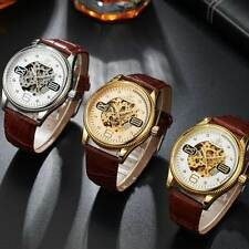 Mechanical Leather Skeleton Automatic Wrist Watch Roman Arabic Dial Luxury Gift