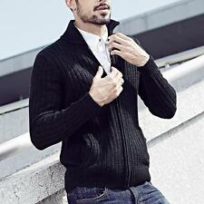 Mens Casual Knitted Long Sleeve Lapel Solid Zipper Cardigan Cotton Sweater M-XXL