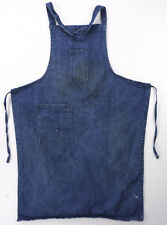 Vintage Dark Blue DENIM Bib Shop Apron Workshop Handmade Tool Pockets Distressed