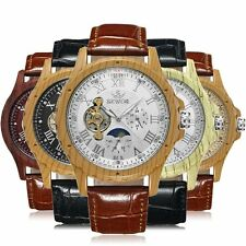 Mens Wooden Case Analog Steampunk Automatic Mechanical Skeleton Wrist Watch Gift