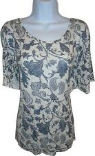 USED Ladies George Navy And White Patterned Short Sleeve Top Size 24 (MJ.S)