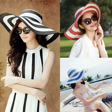 Womens Fashion Floppy Sun Straw Hat Summer Striped Wide Brim Cap Elegant Beach G