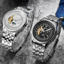 Men Skeleton Stainless Steel Automatic Watch Sliver Mechanical Sport Wrist Watch