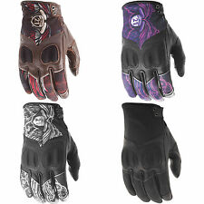 Highway 21 Womens Vixen Leather w/ Touchscreen Motorcycle Gloves - Choose Size