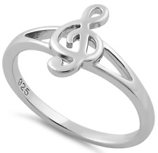 925 Sterling Silver Treble Clef Ring Band Musician Jewelry Music Lover Gift