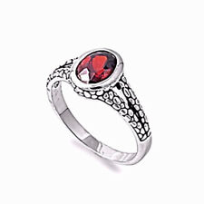 NEW WOMEN'S 925 STERLING SILVER RED GARNET GEMSTONE RING 1 CARAT SIZE 6,7,8,9,10