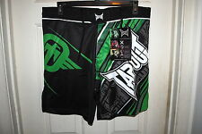 TAPOUT PERFORMANCE MMA FIGHT SHORTS BLACK AND GREEN SIZES 30 34 36 38 NWT
