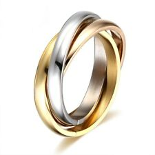 Black Plated 316L Stainless Steel Triple Tone Tri-Roll Links Band Ring Size 6-10