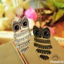Lady Women Vintage Silver Owl Rhinestone Pendant Necklace best Gift