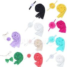 Cute Baby Kids Newborn Lace Wrap Cloth Prop Outfits Photo Photography&Headdress