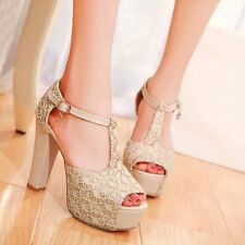 Sweet  Womens Synthetic Stilettos Platforms Open Toe Ankle Straps Sandals Shoes
