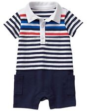 NWT Gymboree Gazebo party boys Striped Romper 3 6 12 Months Baby