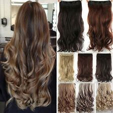 One Piece Real Natural Full Head Clip in Thick Hair Extensions Wavy Straight ltd
