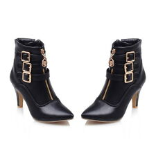 AU All Size Synthetic Leather High Heel Ankle Zip Buckle Women Martin Boots H260