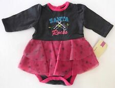 New Baby Girls Christmas One Piece Holiday Bodysuit Santa Size NB 3 6 9 Months