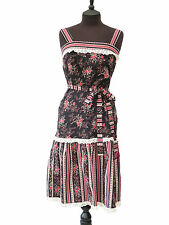 TRUE VINTAGE Simon Ellis 1970's Striking Floral & Stripe Cotton Sun Dress UK 10