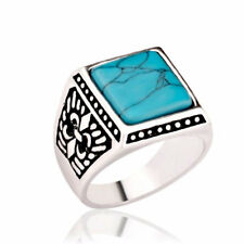 MEN'S NEW WESTERN ANTIQUED SIGNET RING SILVER SQUARE TURQUOISE- SIZE 7-10