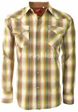 RODEO MEN'S WESTERN COWBOY RODEO PEARL SNAP SHIRT LONG SLEEVE PLAID 408 GREEN