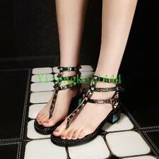 Lady Womens Spike Studded Strappy Cow Leather Roman Gladiator Sandals Pumps @@@#