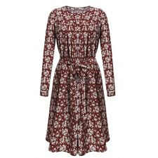 Women Casual O-Neck Beading Long Sleeve Print Tunic Dress with Belt LM04