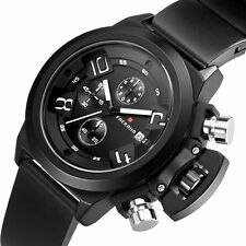 New Fashion Men Stainless Army Quartz Wrist Watch Date Analog Sport Black Rubber