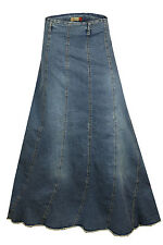 A Line Vertical Panelling Blue Denim Jeans Long and Tall Skirt Plus Size 12to24