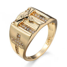 White CZ Cross Jesus Band 14kt Yellow Gold Filled Women's Church Ring Size 6-10