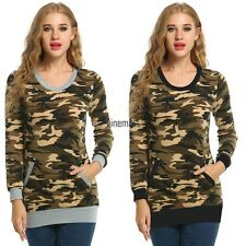 Women Casual O-Neck Long Sleeve Camouflage Print Slim Blouse Tops with LM02