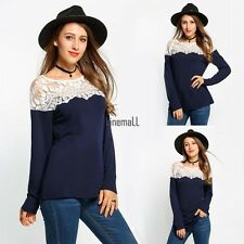 Sexy Women O-Neck Long Sleeve Lace Patchwork Casual Blouse Tops LM02